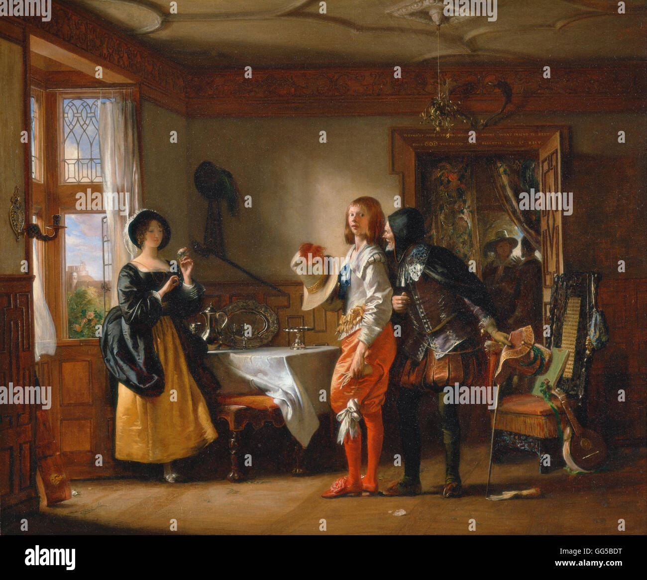 Charles Robert Leslie - Slender, with the Assistance of Shallow, Courting Anne Page, from The Merry Wives of Winds - Stock Image