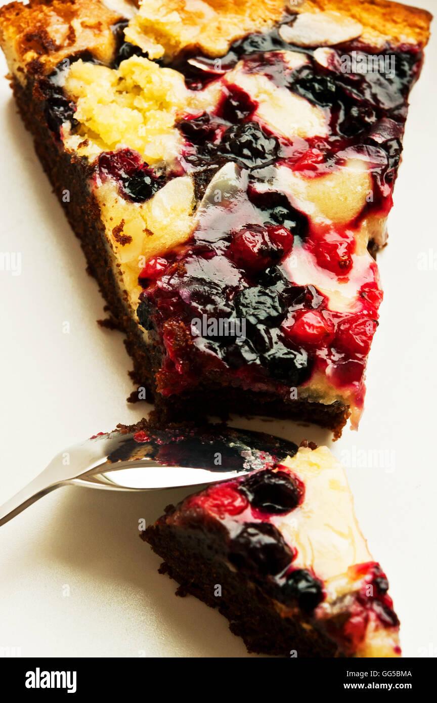 slice of  fruit cake - Stock Image