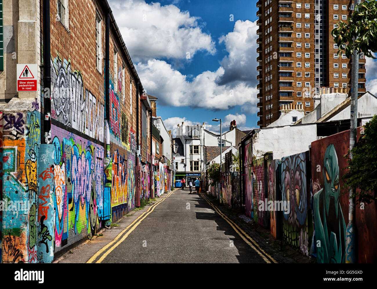 Beautiful artwork on Brighton streets and sunny weather Stock Photo