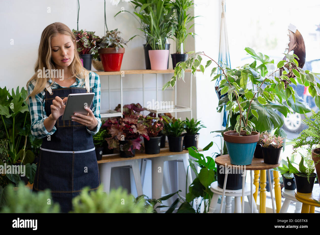 Woman using a digital tablet at her flower shop - Stock Image