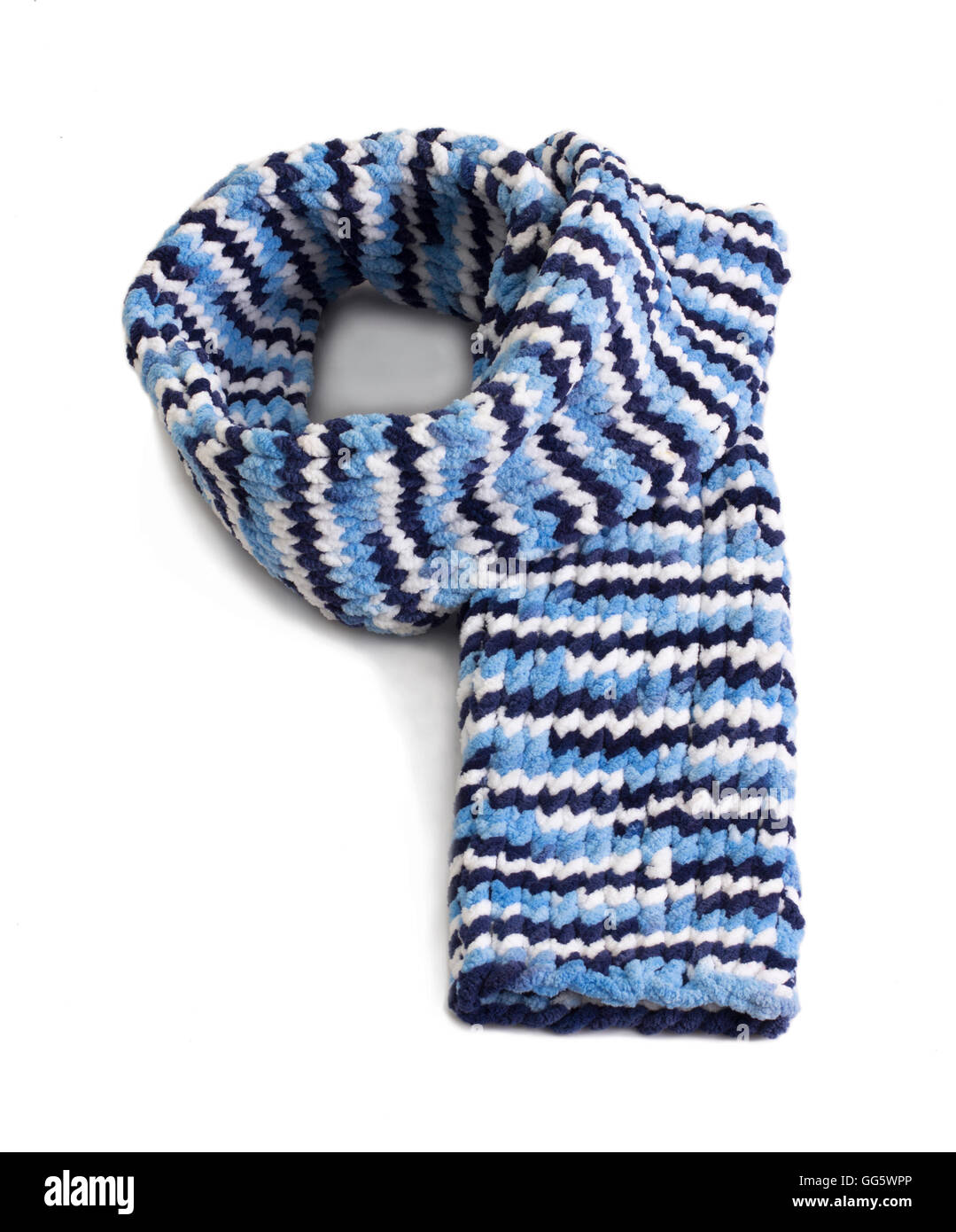Colorful knitted wool scarf isolated on white background - Stock Image