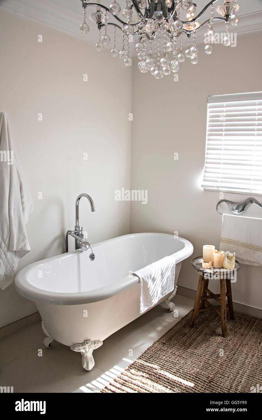 Bathroom bathtub chandelier domestic stock photos bathroom bathtub