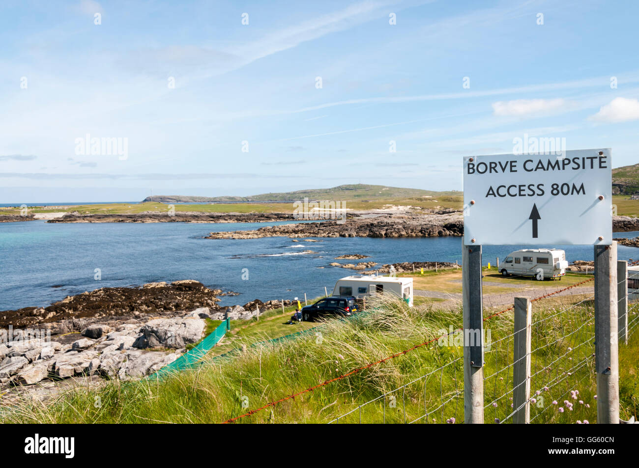 Borve Campsite on the island of Barra in the Outer Hebrides, Scotland. - Stock Image