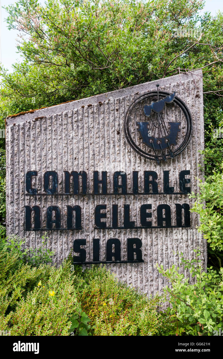 Sign outside the offices of Comhairle nan Eilean Siar, local government for Na h-Eileanan Siar or the Outer Hebrides. - Stock Image