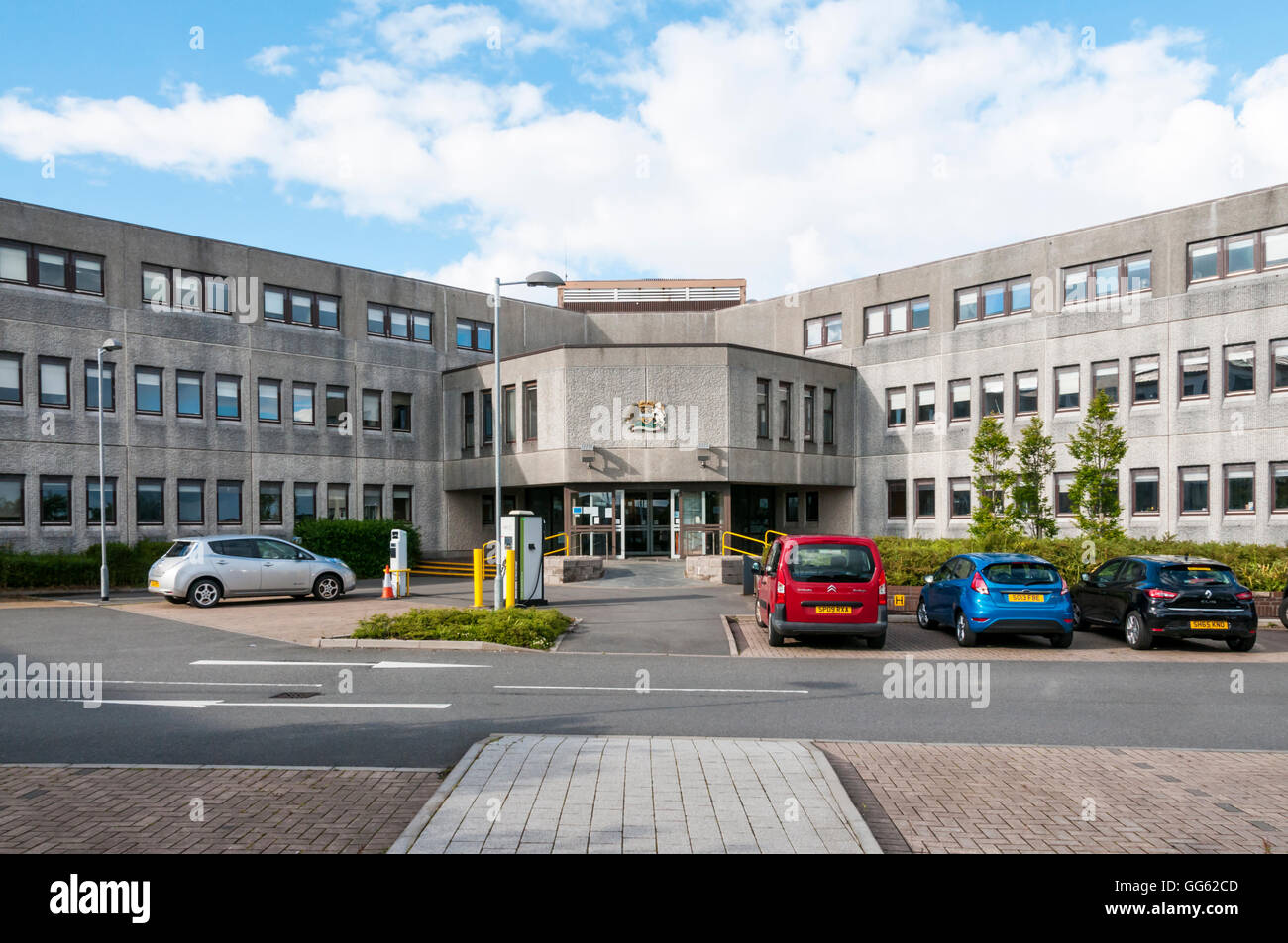 The offices of Comhairle nan Eilean Siar, local government for Na h-Eileanan Siar or the Outer Hebrides. - Stock Image