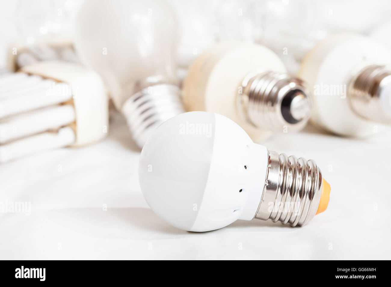 Pile Light Bulbs Stock Photos Images Alamy Bulb Ornaments On Incandescent Circuit Diagram Energy Saving New Led Lamp And Many Old Used Compact Fluorescent Lamps