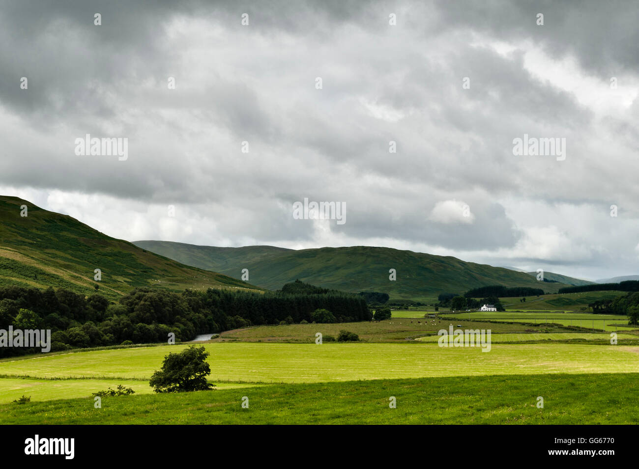 Scotland. The Yarrow Valley in the beautiful and remote Scottish Borders, with the Gordon Arms Hotel in the distance - Stock Image