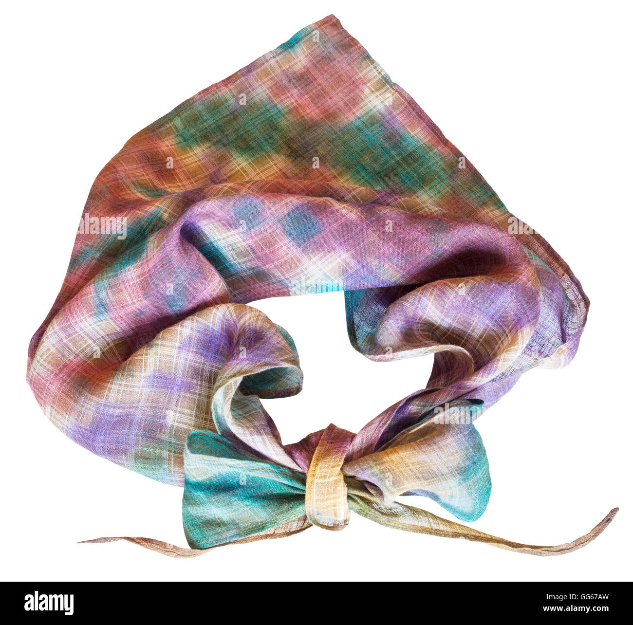 knotted neckerchief from hand painted linen batik isolated on white background - Stock Image