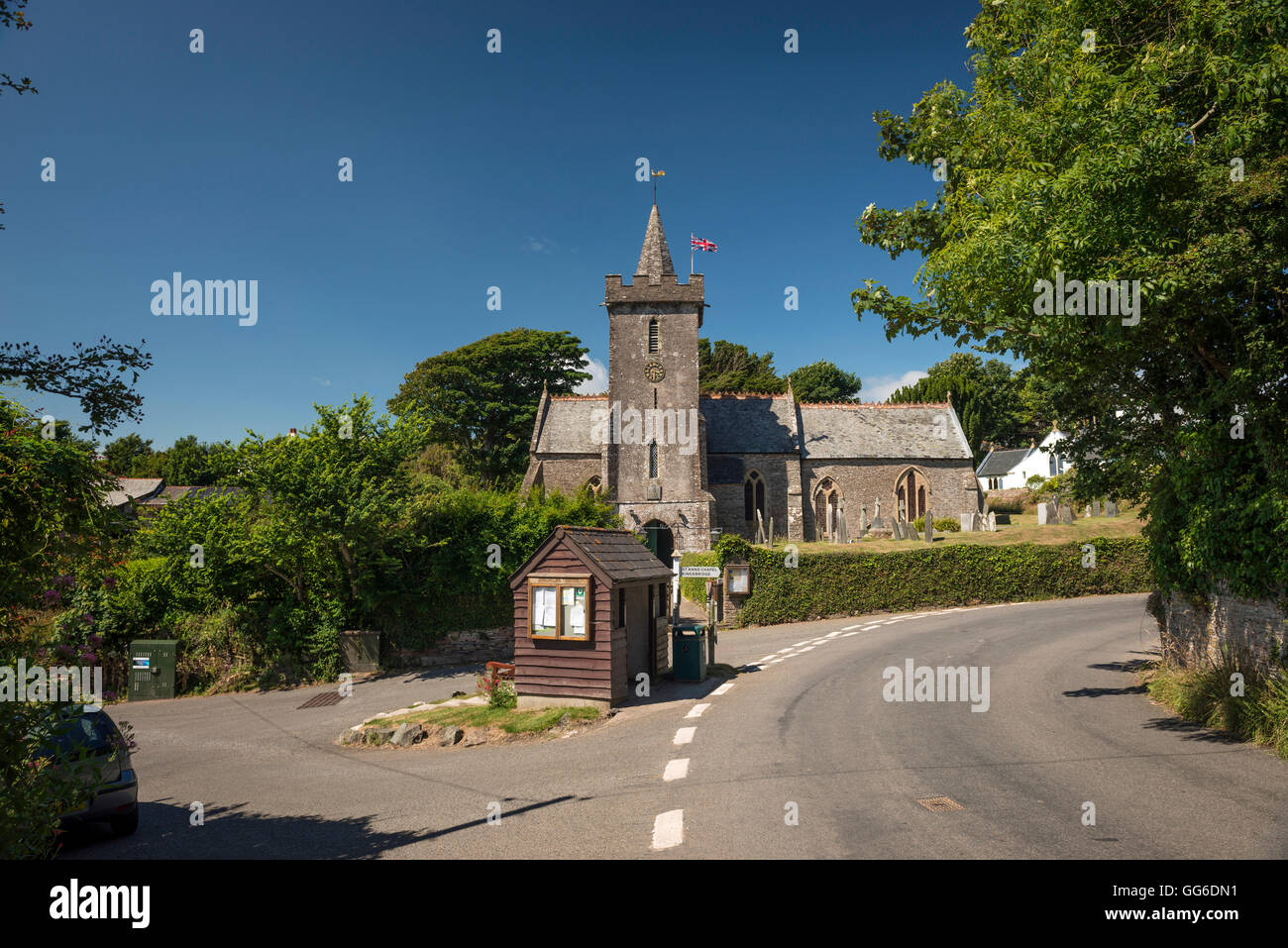 All Hallows church in the village of Ringmore in The South Hams, Devon, UK - Stock Image
