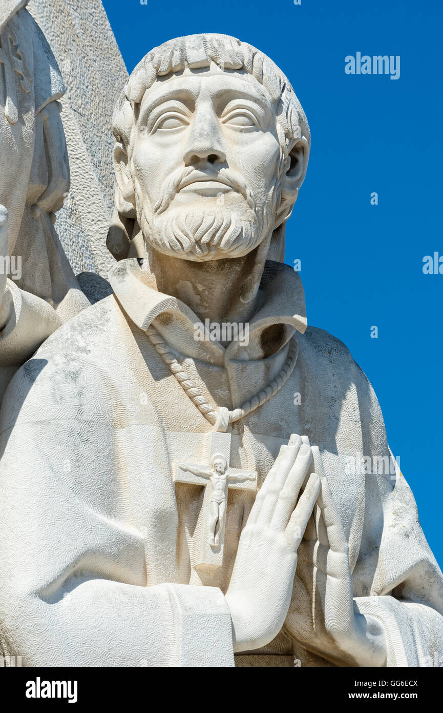 Detail of the statues, Padrao dos Descobrimentos (Monument to the Discoveries), Belem, Lisbon, Portugal, Europe - Stock Image