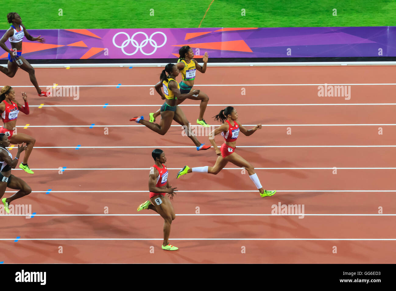Allyson Felix, United States, powers to win gold medal, Women's 200m final, Stadium, London 2012, Olympic Games, - Stock Image