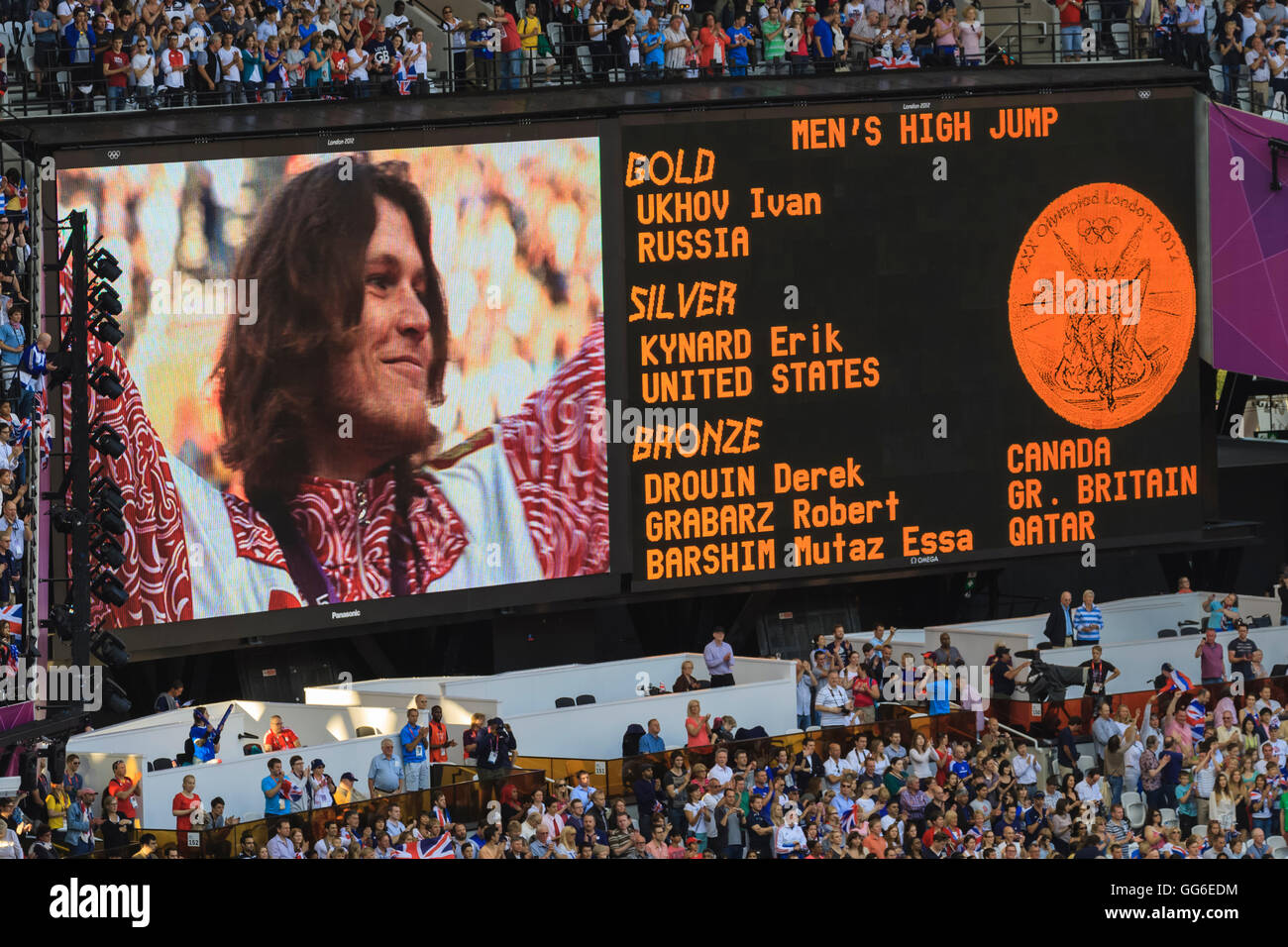 Stadium big screen shows winner of Men's high jump and medal positions, victory ceremony, London 2012, Olympic - Stock Image