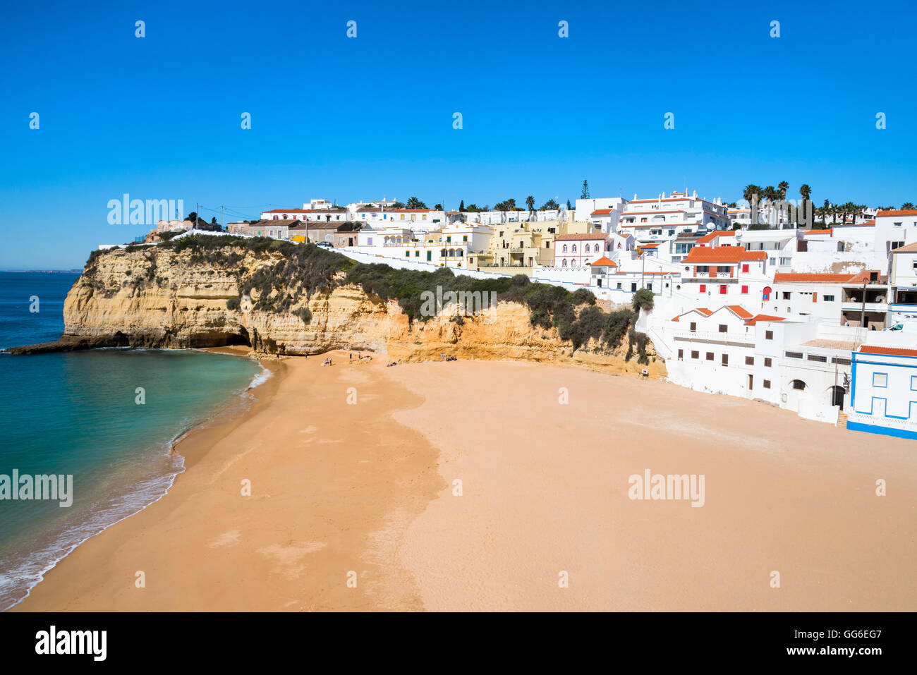 Carvoeiro and Beach, Algarve, Portugal, Europe - Stock Image