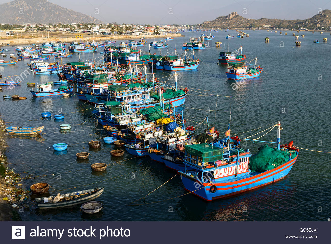 The fishing port, Phan Rang, Ninh Thuan province, Vietnam, Indochina, Southeast Asia, Asia - Stock Image