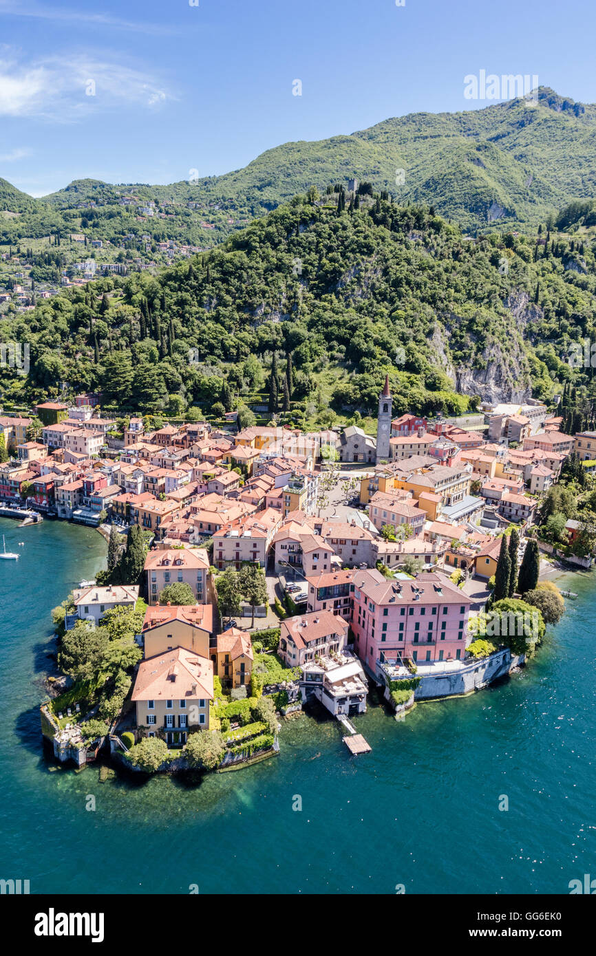 Aerial view of the picturesque village of Varenna surrounded by Lake Como and gardens, Lecco Province, Lombardy, - Stock Image