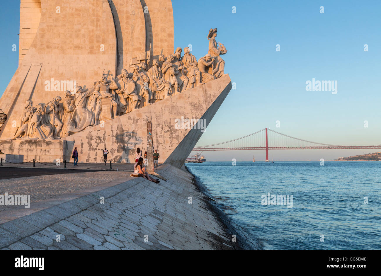 Sunset on the Padrao dos Descobrimentos (Monument to the Discoveries) by the Tagus River, Belem, Lisbon, Portugal, - Stock Image
