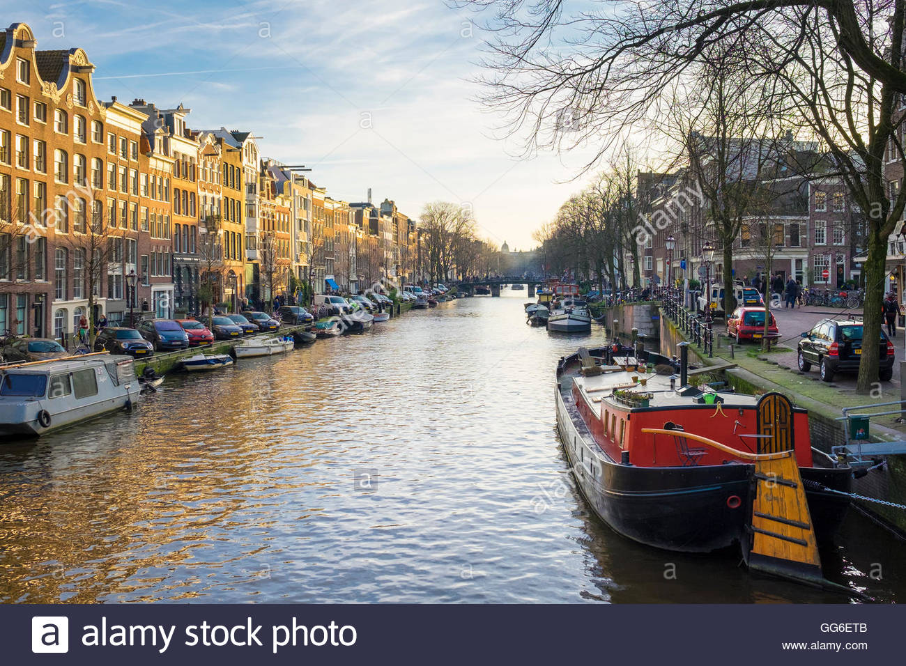 Prinsengracht canal, Amsterdam, North Holland, Netherlands, Europe - Stock Image