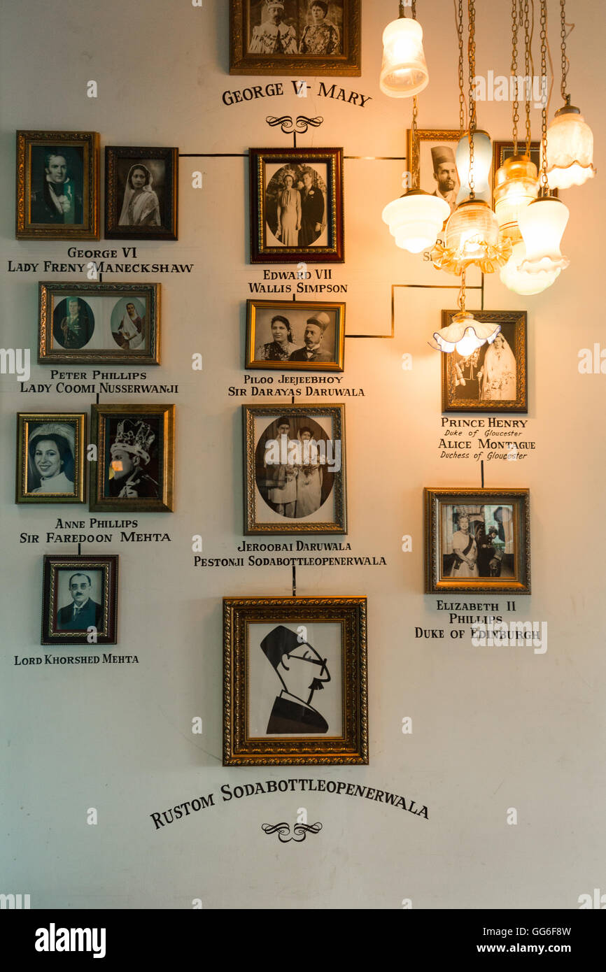Vintage photo frames of Parsis on the wall - Stock Image