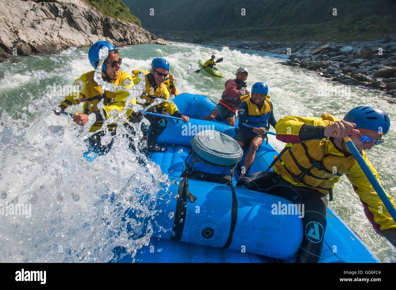 Rafting trip on the Trisuli River in Nepal, Asia - Stock Image