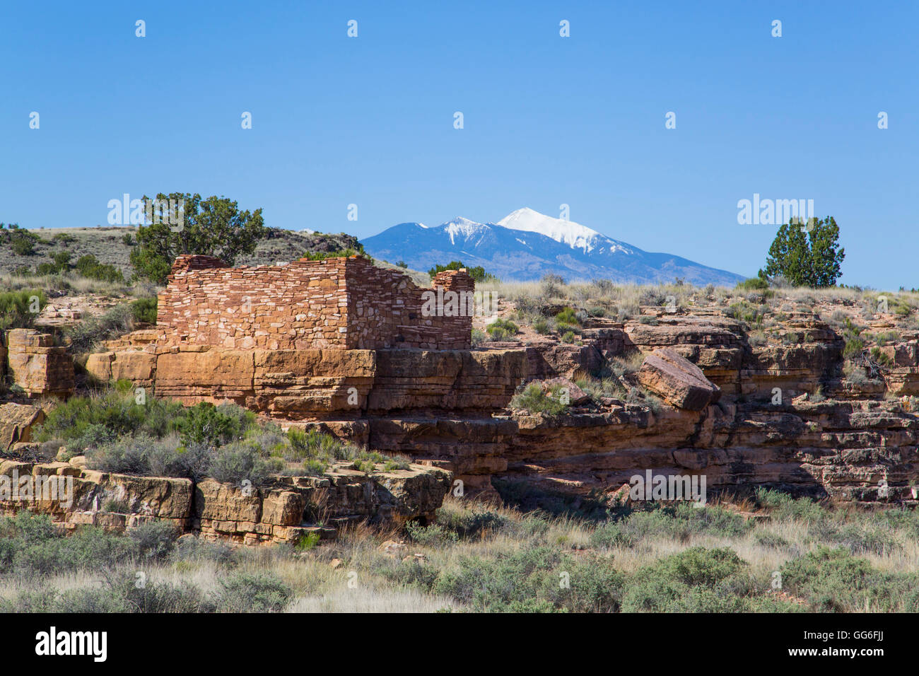 Lomaki Pueblo, inhabited from approximately 1100 AD to 1250 AD, Wupatki National Monument, Arizona, USA - Stock Image