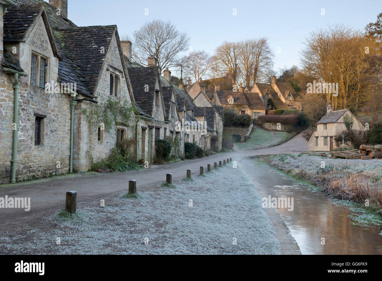Arlington Row Cotswold stone cottages on frosty morning, Bibury, Cotswolds, Gloucestershire, England, United Kingdom, - Stock Image