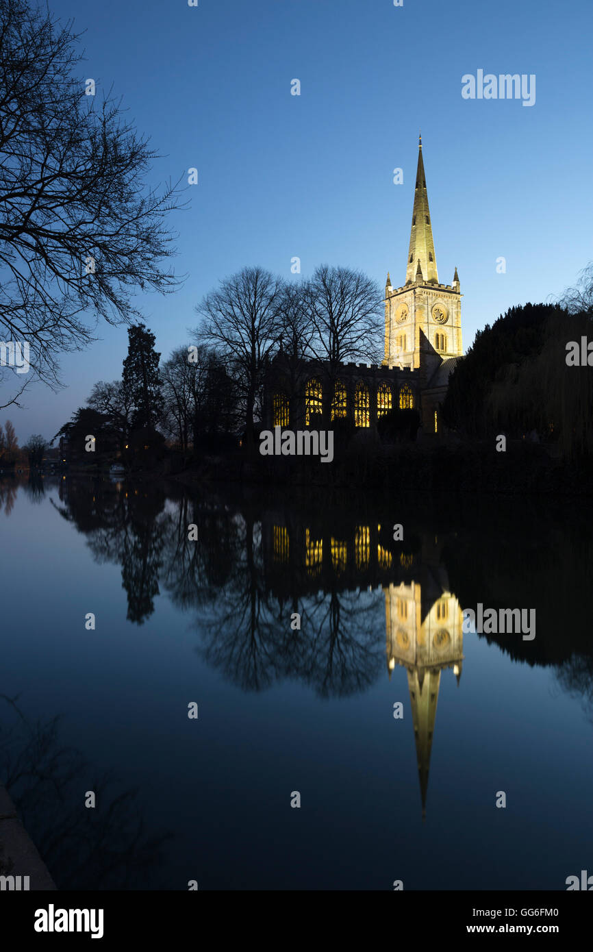 Holy Trinity Church on the River Avon at dusk, Stratford-upon-Avon, Warwickshire, England, United Kingdom, Europe - Stock Image