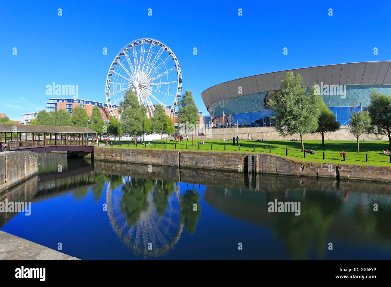 Dukes Dock and The Wheel of Liverpool, Keel Wharf, Liverpool, Merseyside, England, UK. - Stock Image