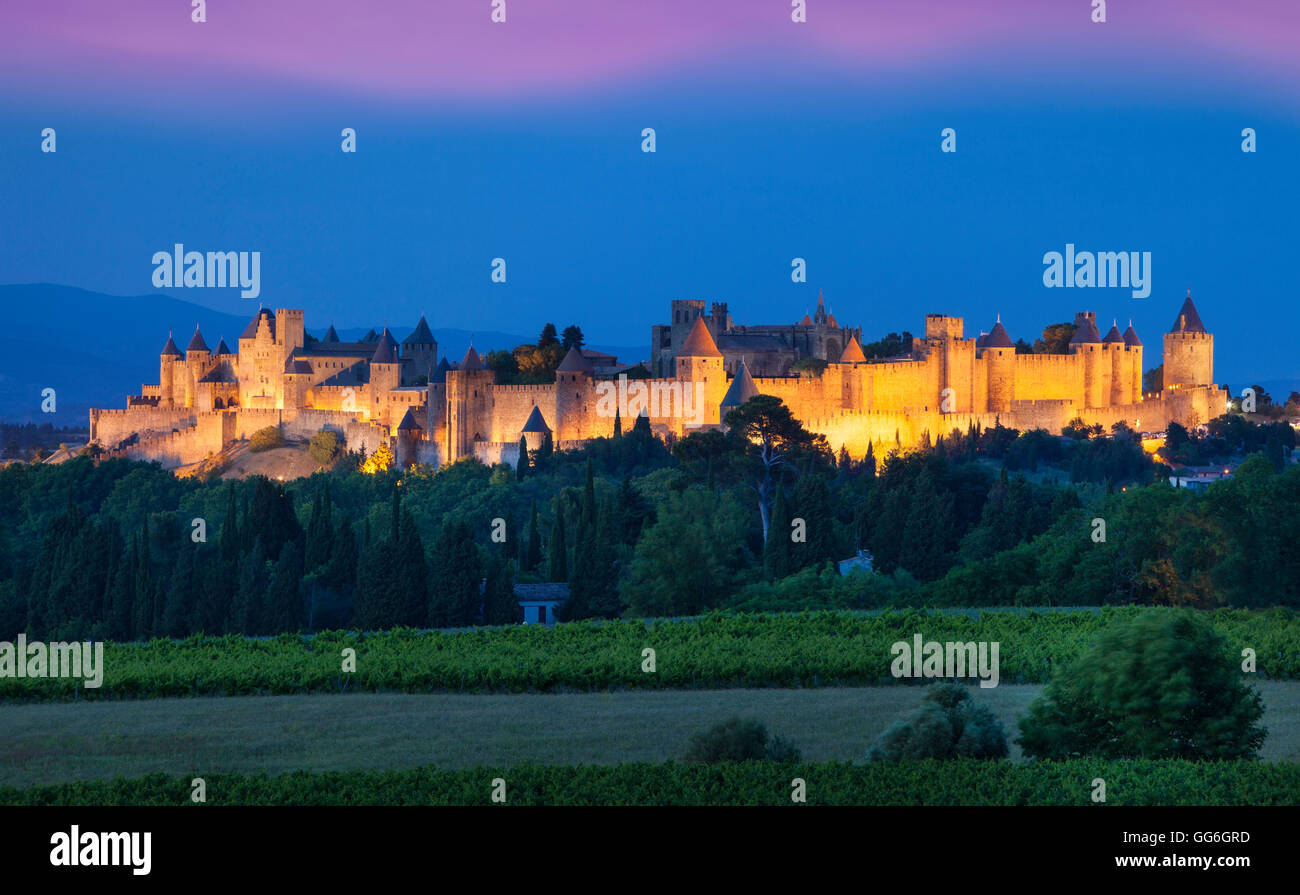 La Cite Carcassonne, Fortified Medieval town, Occitanie, France - Stock Image