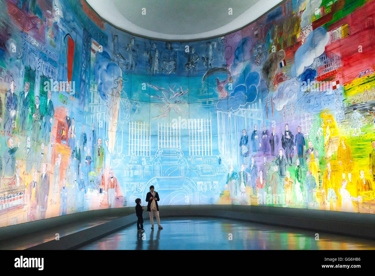 "Paris art museum, a giant illuminated mural of Raoul Duffy's ""La Fee Electricite"" in the Musee d'Art Moderne de Stock Photo"
