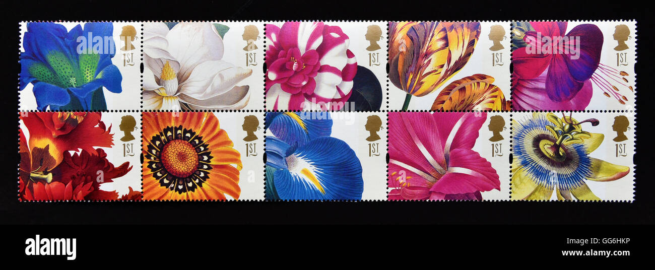 Postage stamps. Great Britain. Queen Elizabeth II. 1997. Greetings Stamps. 19th.Century Flower Paintings. Se-tenant - Stock Image