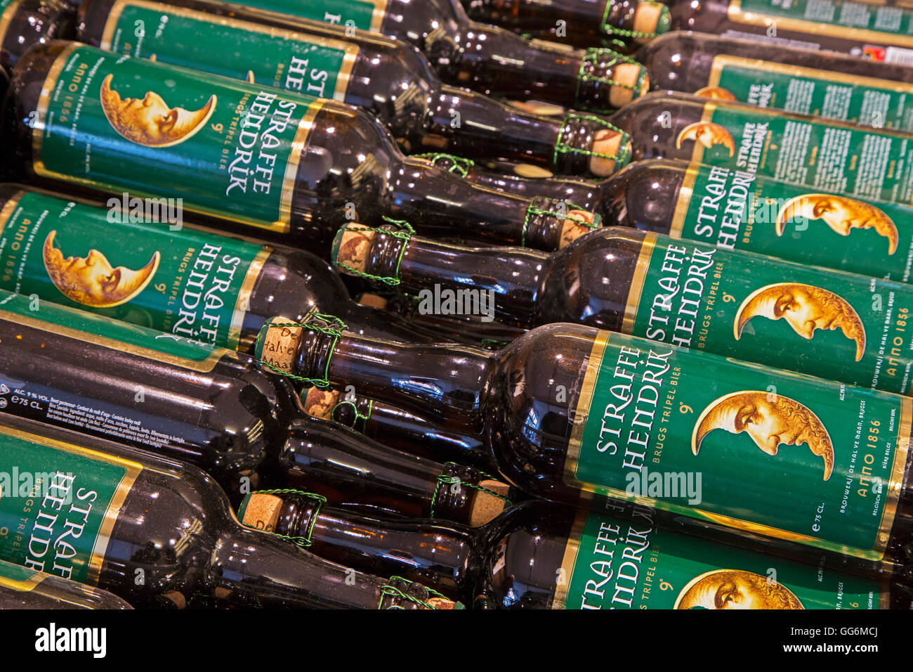 Straffe Hendrik beer bottles at the Brouwerij Henri Maes, Belgian brewery at Bruges, Belgium - Stock Image