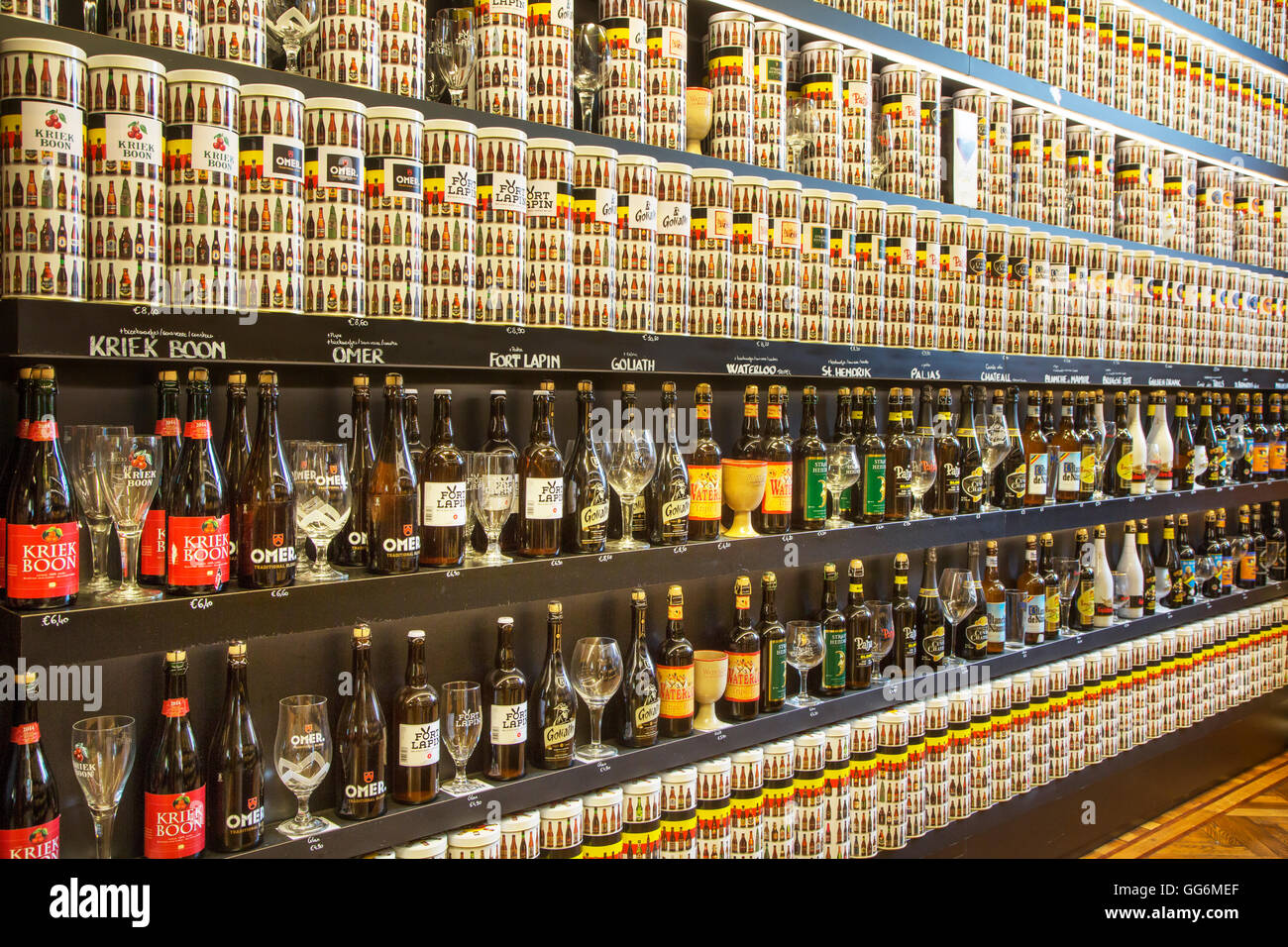 Collection of Belgian beers for sale in souvenir shop in Belgium - Stock Image