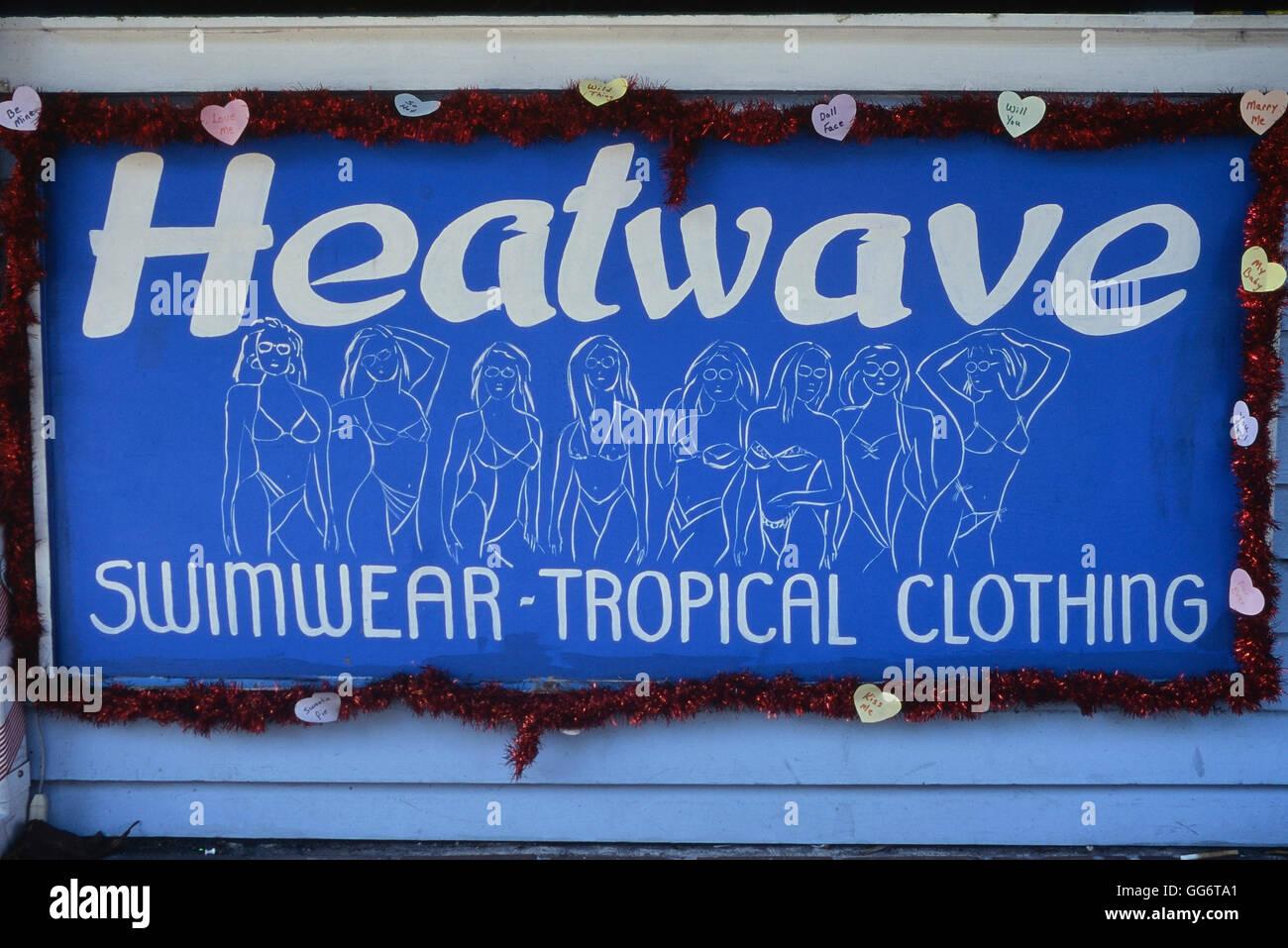 Heatwave swimwear tropical clothing store sign. Key West. Florida. America - Stock Image