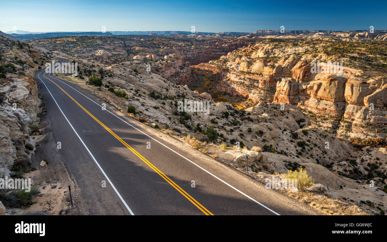 Highway 12 at The Hogback slickrock area, over Calf Creek canyon, sunrise, Grand Staircase-Escalante National Monument, - Stock Image