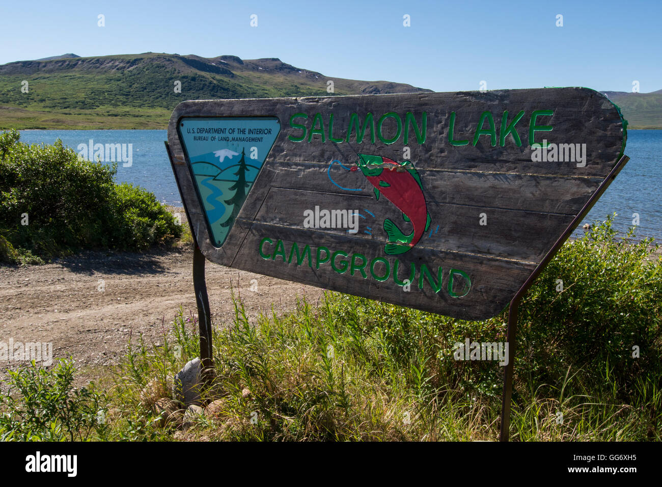 Alaska, Seward Peninsula, Nome. Nome-Taylor Highway aka Kougarok Road or Taylor Road. Salmon Lake, BLM Campground - Stock Image