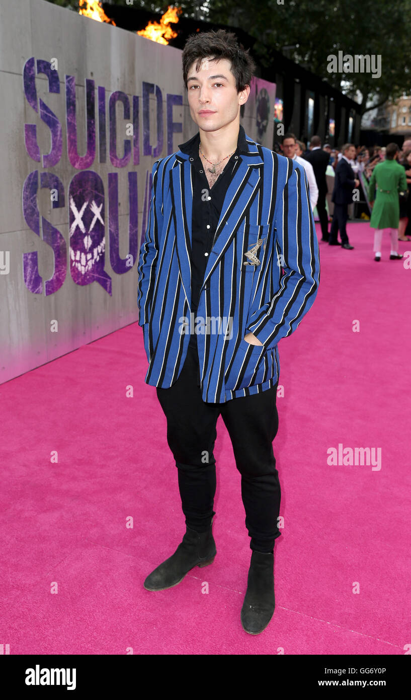 Ezra Miller arriving for the Suicide Squad European Premiere, at the Odeon Leicester Square, London. PRESS ASSOCIATION - Stock Image