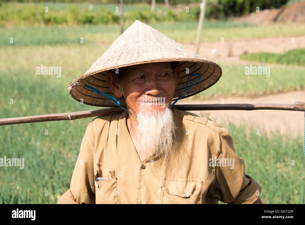 3f25f20706f Old Vietnamese man wearing conical hat living in the countryside near Hoi  An. - Stock