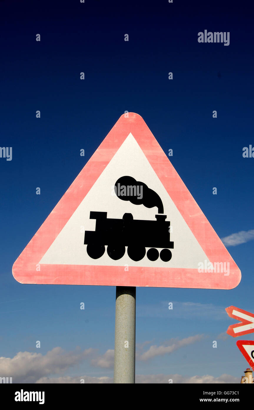 Train crossing sign - Stock Image