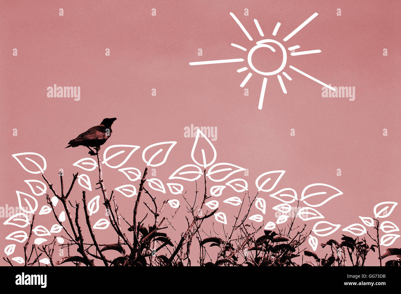 Vintage looking summer sky landscape. A crow is sitting on top of a dying tree with no leaves. - Stock Image
