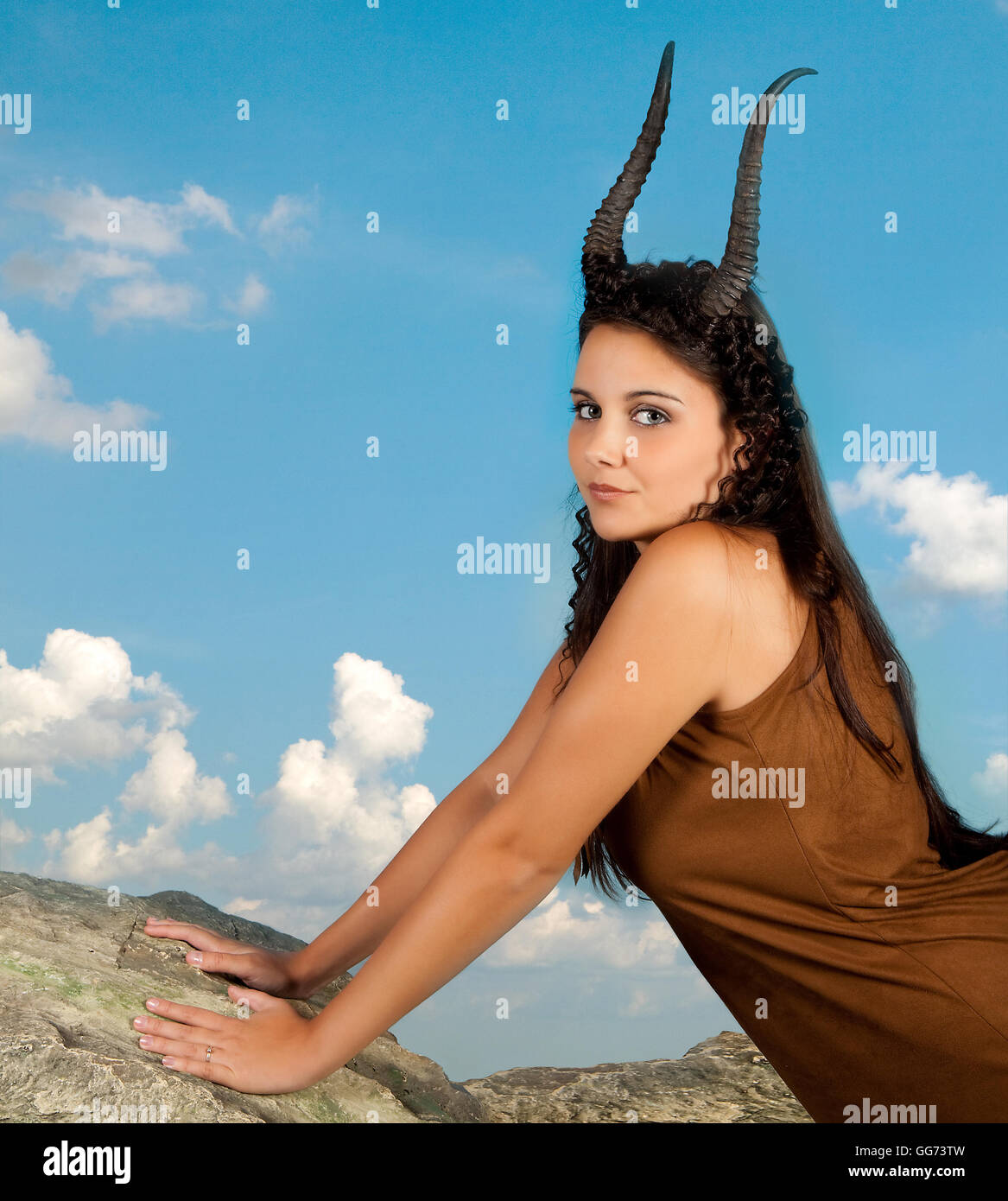 Capricorn or Goat woman, this photo is part of a series of twelve Zodiac signs of astrology Stock Photo