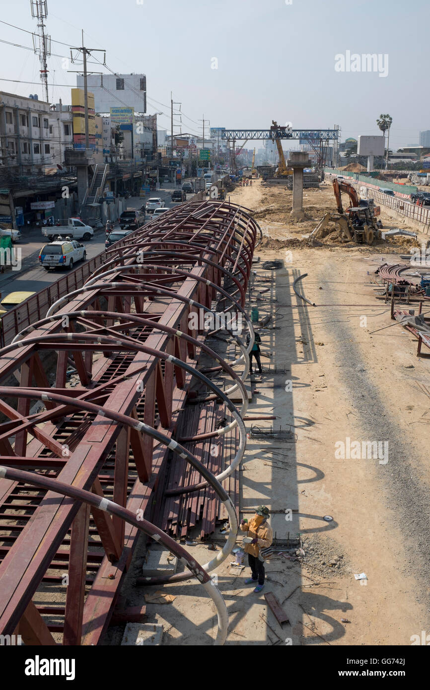 Road Building Construction Work in Central Pattaya - Stock Image