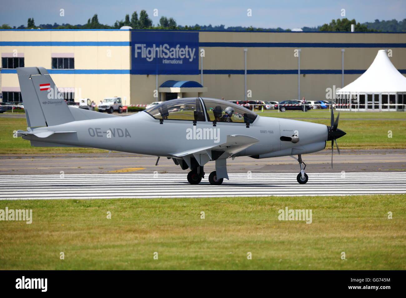 Dart 450 OE-VDA displayed at the Farnborough International Airshow 2016 - Stock Image