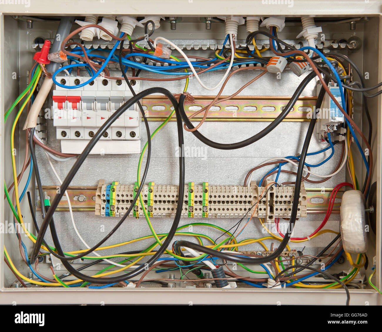 Electrical connections in a fuse box - Stock Image
