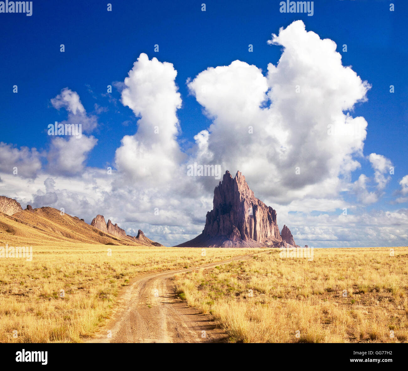 Giant clouds over Ship Rock, on the Navajo Reservation in northern New Mexico - Stock Image