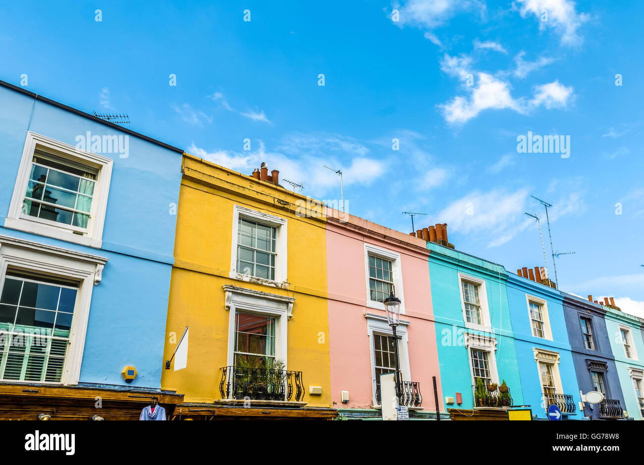Colourful English Terraced Houses in Notting Hill, London - Stock Image