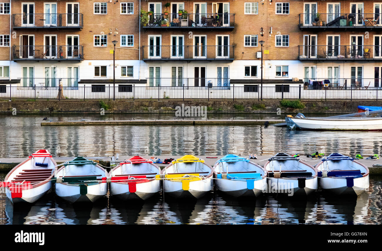 Row of boats decorated with different colours, moored in Millwall Outer Dock in London - Stock Image