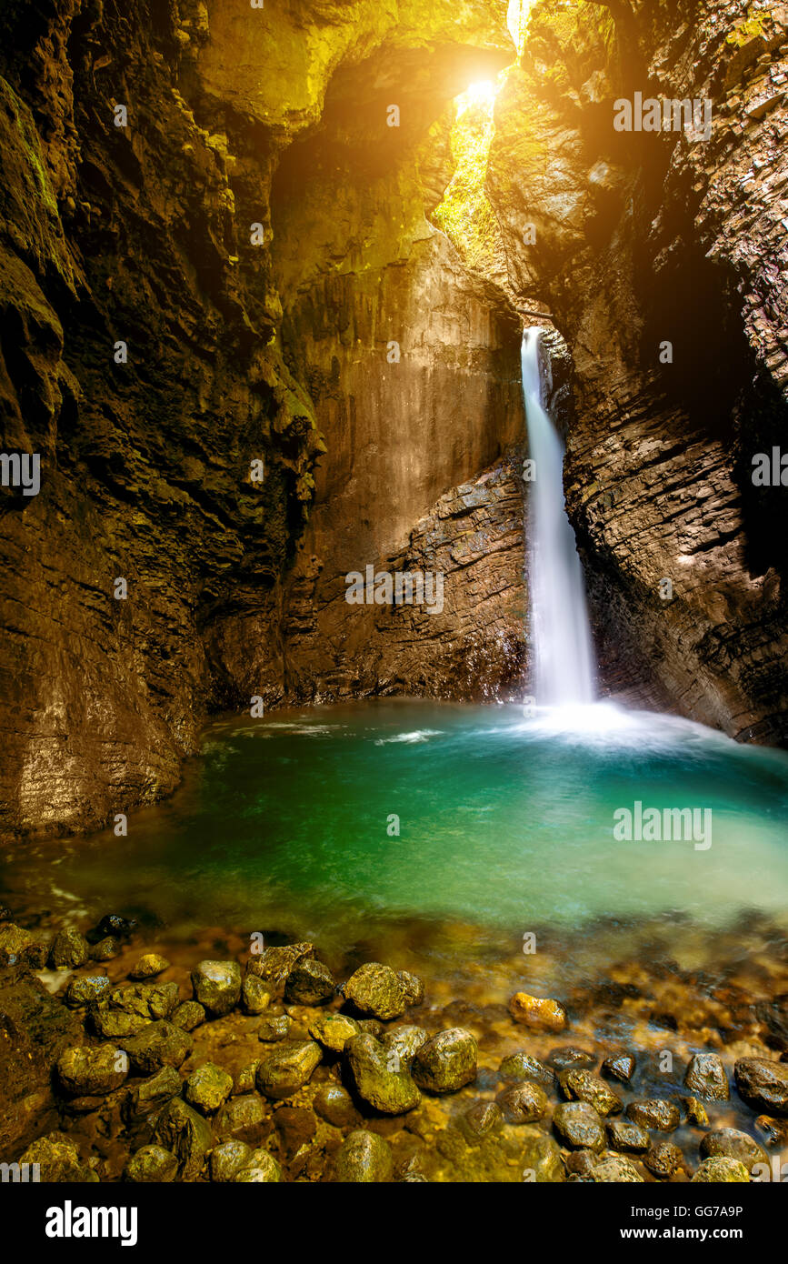 Kozjak waterfall in Slovenia - Stock Image