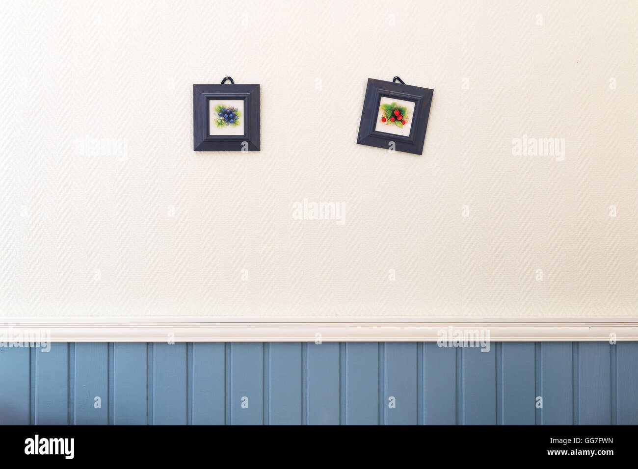 Two small square pictures of blueberries and strawberries in frames hanging on the white blue wall. - Stock Image