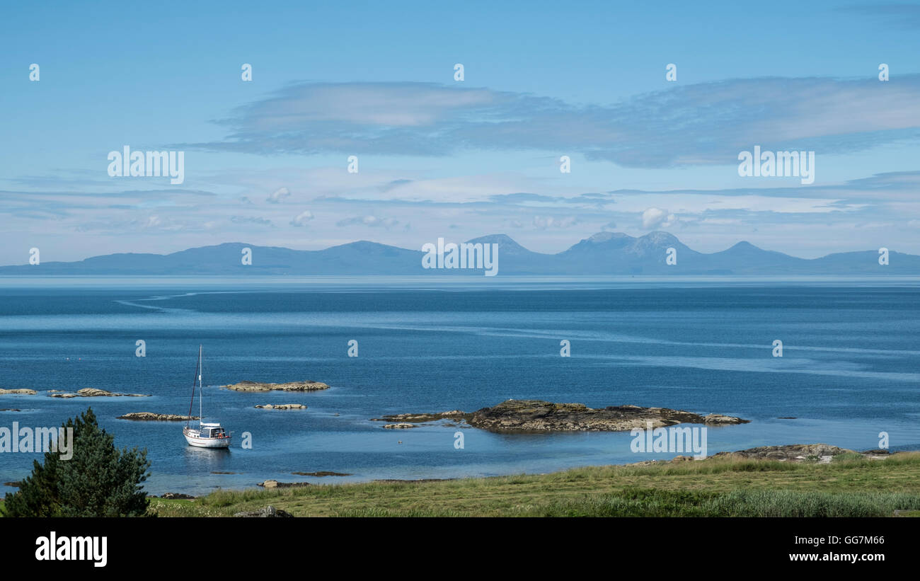 View of The Paps of Jura mountains on the Island of Jura from Kintyre Peninsula in Argyll and Bute , Inner Hebrides,Scotland Stock Photo
