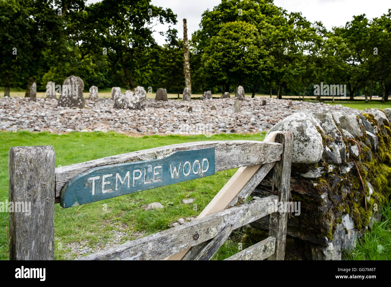 View of ancient standing stone circle at Temple Wood in Kilmartin in Argyll and Bute , Scotland,United Kingdom - Stock Image